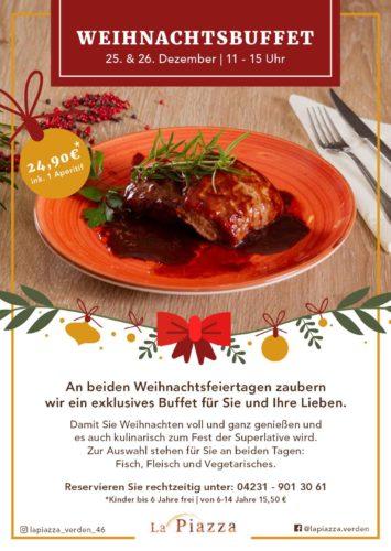 Weihnachtsbuffet im La Piazza Verden Flyer