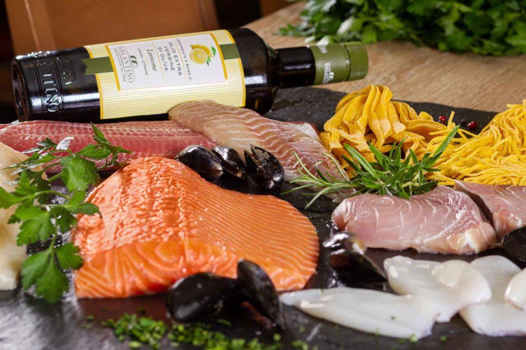 Frischer Fisch & Meeresfrüchte sowie Oliven Öl Höchster Qualität